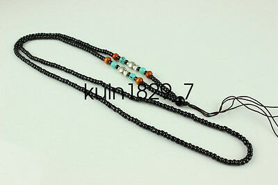 Chinese Obsidian hand woven pendant Beads necklace Accessories  LJQ231