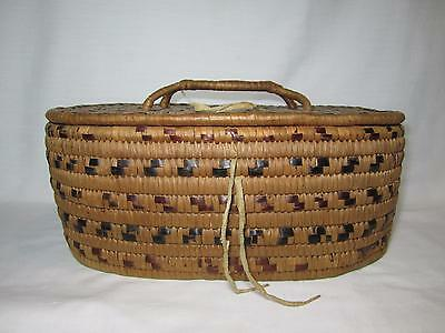Antique Salish Basket with Attached Lid Native American Basket Early1900's