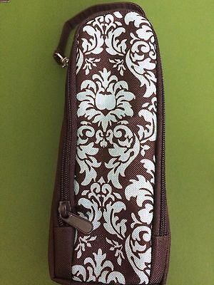 Enfamil Insulated travel bottle holder brown with a blue floral pattern nwot