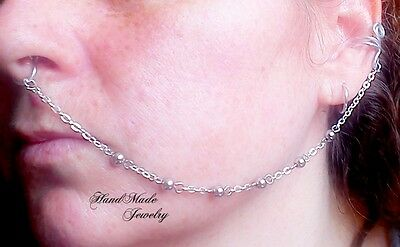 Silver chain  Nose to Ear Chain Ring Non piercing Nose Chain Septum Ring Clipon