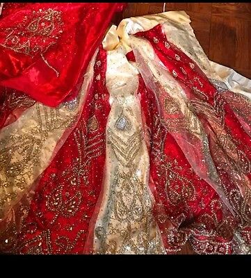 Red And Cream Bridal Indian Lengha