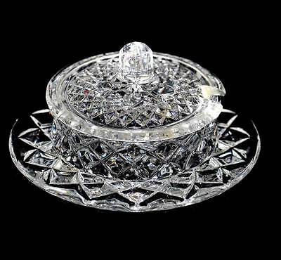 Vintage crystal sparkly lidded jam pot & saucer. In excellent condition