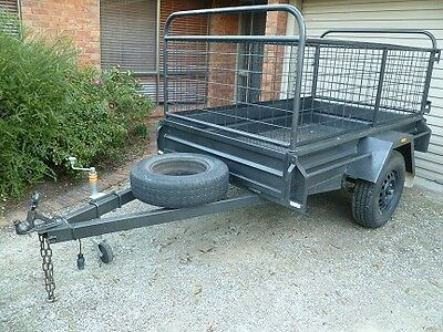 As New 7' X 4' All Steel Caged Trailer