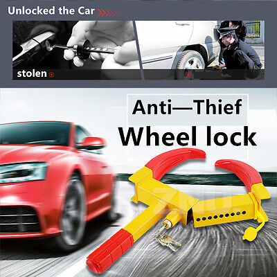 Wheel Tire Lock Clamp Car Vehicle SUV Heavy Duty Anti Theft Tyre Claw w/ 3 Keys