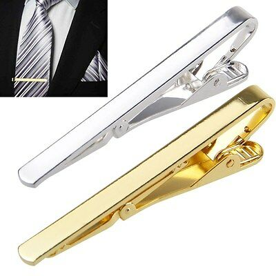 Fashion Mens Boys Metal/Silver Gold Simple Necktie Tie Bar Clasp Pin Clip Gifts