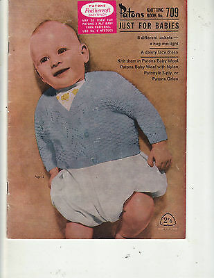 Patons Vintage Knitting Pattern Book 709 Just for Babies 8 Different Jackets etc