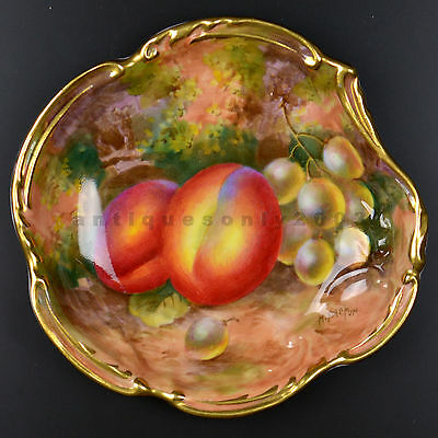 ROYAL WORCESTER Fruit Hand Painted Gilded Rim English Pin Dish by HARRY AYRTON