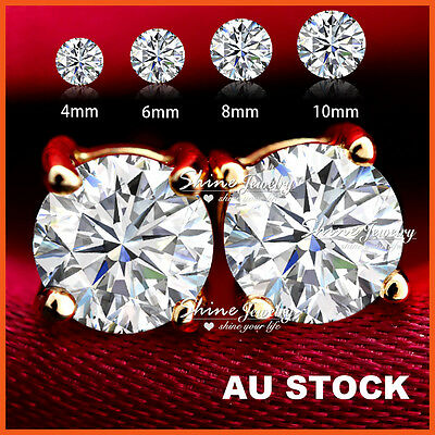 9K Gold Gf Ct Signitiy Diamond Solid Mens Women Kids Classic Round Stud Earrings