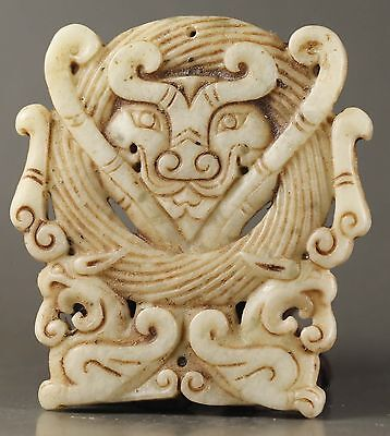 New Chinese old natural jade hand-carved dragon design statue 2.5 inch NO.Y2