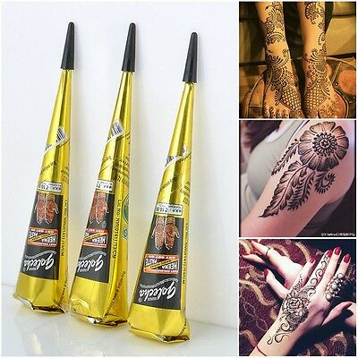 Natural Herbal Temporary Tattoo Black Henna Cones Body Mehandi Art Paint Kits
