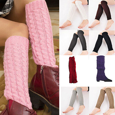 Women Lady Lovely Knit Crochet Long Leg Warmers Braid Winter Boots Socks