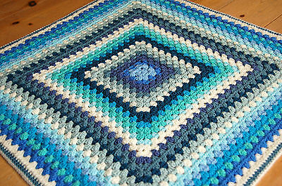 "Handmade 25"" (64cm) CORNISH ROCKPOOL baby blanket hand crochet surf beach blue"