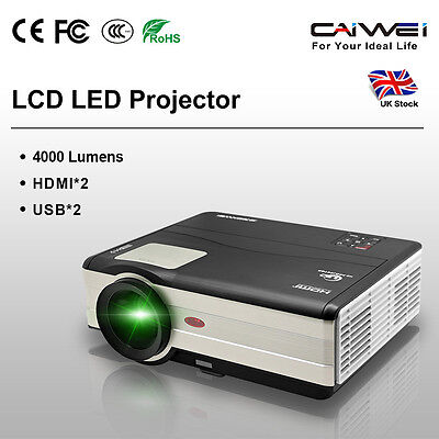 UK Big Screen LCD LED Projecteur Home Cinema HD 1080p Jeu Vidéo HDMI*2 USB*2 VGA