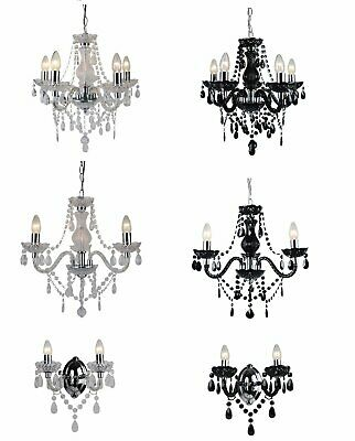 Marie Therese 2, 3 & 5 Ceiling Light Acrylic Droplets Chandelier & Wall Clear Bl