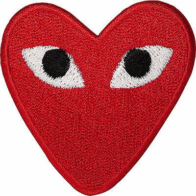 Embroidered Red Love Heart Eyes Iron On Patch Sew On Embroidery Badge Applique