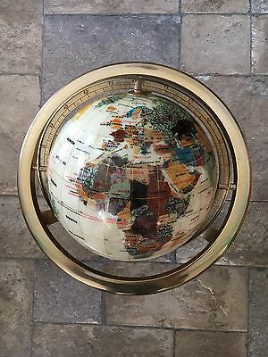 World Atlas Globe Mother of Pearl, gemstones, rotating with compass Approx 15""