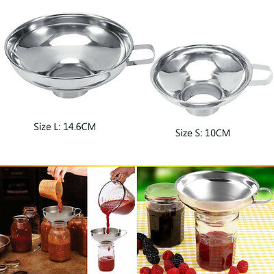 Kitchen Wide Mouth Canning Funnel Hopper Filter Jar Cooking Stainless Steel Tool