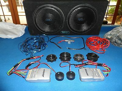 2X 12 Inch Sub Woofers In Box With Amp, Pair Tweeters Blaupunkt & Cables