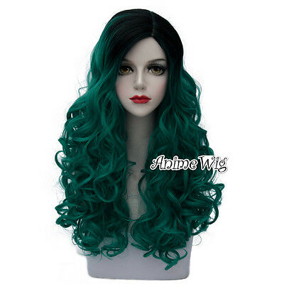 Lolita Green Mixed Black Long 60CM Curly Fashion Party Cosplay Wig + Wig Cap New