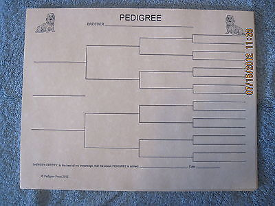 Dandie Dinmont Terrier Blank Pedigree Sheets Pack 10 FREE SHIPPING IN USA dog
