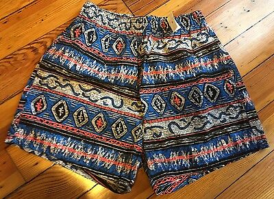 Vtg McGREGOR Men Bathing Swim Suit Trunks Cotton HAWAIIAN /AZTEC Sz S-M  NWT✔