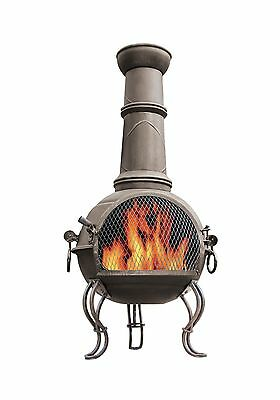 La Hacienda 56903 107cm Large Murcia Steel Chiminea with Grill - Bronze