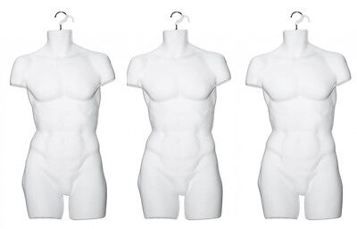 Male Hanging Display Form Mannequin Opaque Frosted- SET OF 3