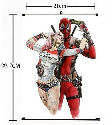 Hot DC Anime Suicide Squad Harley Quinn Deadpool Home Decor Poster Wall Scroll+