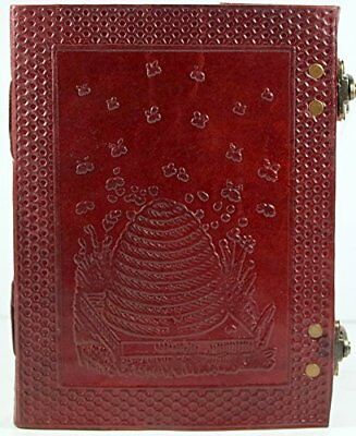 """Barner Books Honey Bee Leather Journal with Beehive Handmade Paper 8"""" x 6"""""""