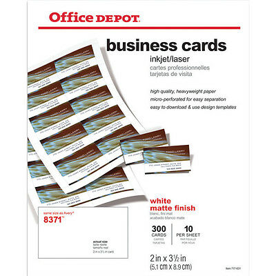 """Office Depot Brand Business Cards, 2"""" x 3 1/2""""- White -300 - NEW in box - 980320"""