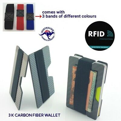 Carbon Fibre RFID protected Slim Card Wallet Money Clip Card Holder Minimalist