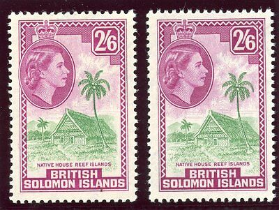 Solomon Islands 1956 QEII 2s 6d in the two listed shades superb MNH. SG 93, 93a.