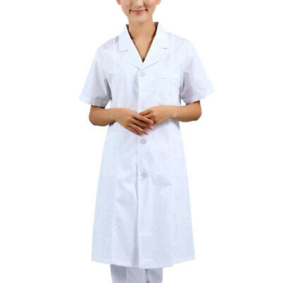 Women Scrubs White Lab Coat Uniform Doctor's White Coat Food Coat Short Sleeve