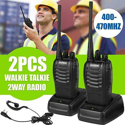 2x Baofeng Walkie Talkie Long Range 2 way Radio UHF 400to470MHZ16CH Earpiece UK