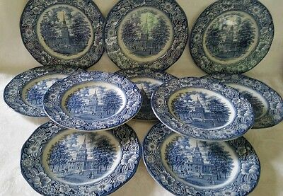 "Ten (10) Liberty Blue Staffordshire China - DINNER PLATES 10"" INDEPENDENCE HALL"