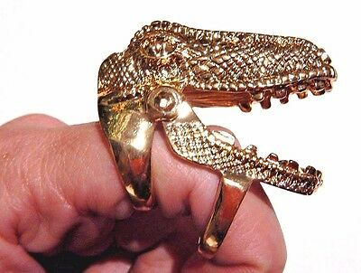 GIANT GOLD DINOSAUR HEAD RING jointed movable jaw T-Rex Tyrannosaurus animal 2W
