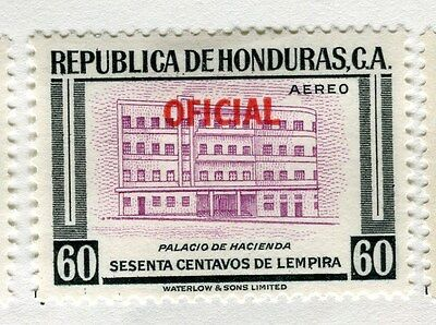 HONDURAS;   1956 early Pictorial OFICIAL AIR issue Mint hinged 60c. value