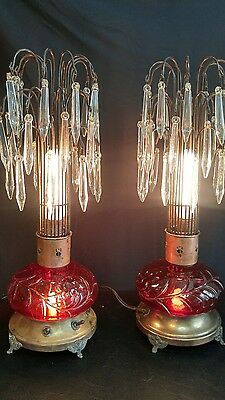 RARE Pair 1920's Art Deco Waterfall  Cranberry Glass Lamps.