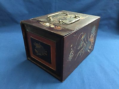 Antique Asian Japanese Lacquer Geisha Makeup And Jewelry Box with Handles
