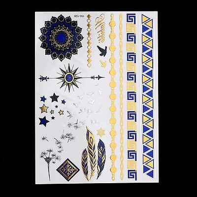 Gold Blue Stars Feathers Stars Birds Chains Bands Temporary Tattoo Arrows Birds