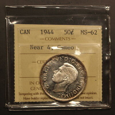 Canada 50 Cents 1944 Near 4 - Cameo Silver Select BU - ICCS Holder