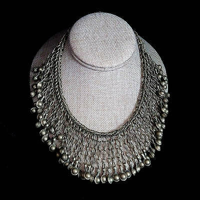 "Afghan Choker Fringe-Like Collar Bohemian Necklace SMALL 16"" Inner Circumference"