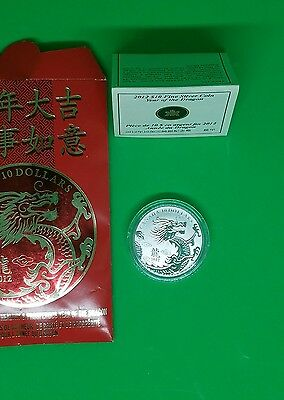 2012 Canada $10 Year of the Dragon Silver Coin