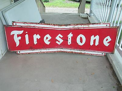 Vintage Firestone Tire Metal Gas Oil Sign 6ft RARE