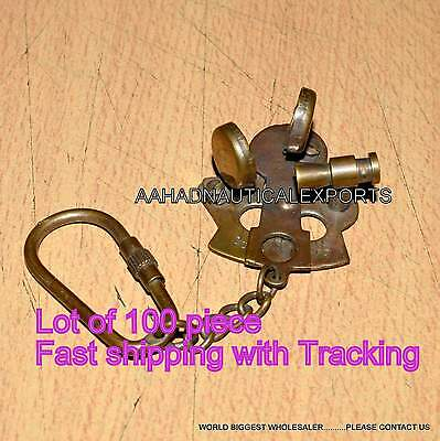 Nautical Vintage Brass Keychain Antique Brass Sextant Key Ring Nice Lover Gift