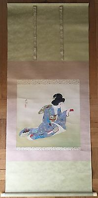 Japanese Kikusui Kadoi(1886-1976)Original Watercolor, Ink On Silk Hanging Scroll