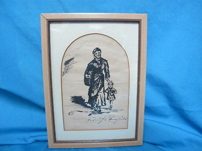 Vintage Hand done Pen and Ink Drawing Woman and Child  Signed??