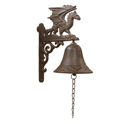 Flying Winged Dragon Metal Wall Mount Bell Medieval Gothic Yard/Garden/Bar Decor