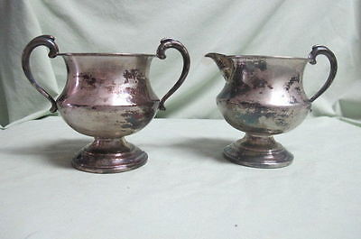 VINTAGE   Sterling Weighted  Cream and Sugar
