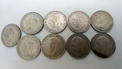 Uk Great Britian One Florin Silver Coins Lot 9